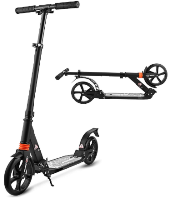 This is an image of boy's kick scooter in black color