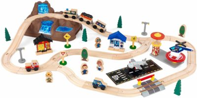 This is an image of a mountain train set for kids by KidKraft.
