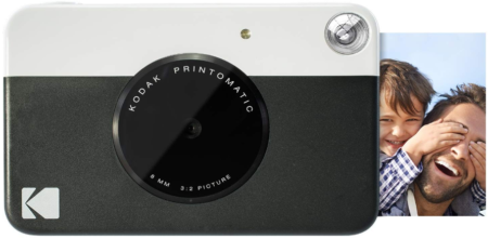 This is an image of girl's kodak digital instant print camera in black and white colors