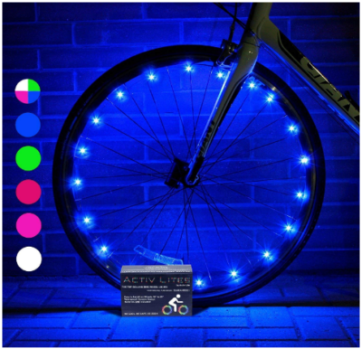 This is an image of kid's LED bike wheel lights in colorful colors