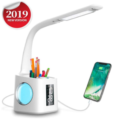 This is an image of girl's LED desk lamp with USB charger and timer in white color