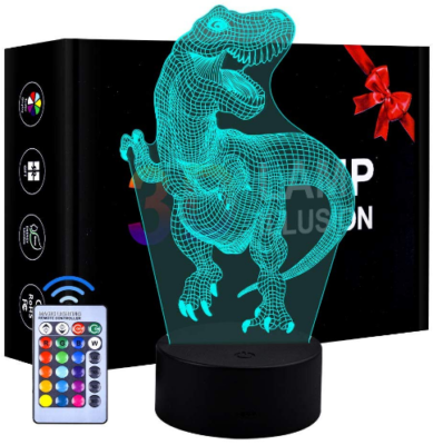 This is an image of kid's LED dinosaur night light with remote control in blue color