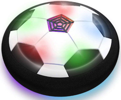 This is an image of kid's LED hover soccer ball in black and white colors