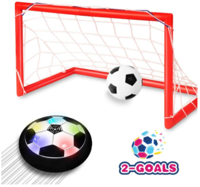 This is an image of boy's LED hover soccer ball set in red color
