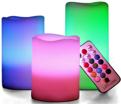 This is an image of girl's LED multi colored candles lamps with remote control
