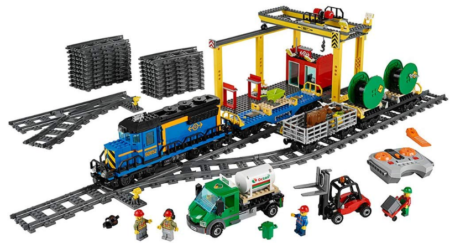 This is an image of boy's LEGO city cargo train building kit