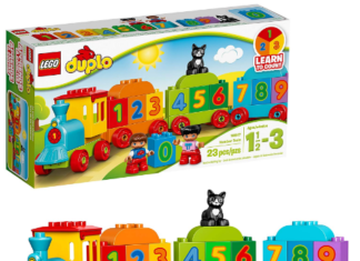 This is an image of boy's LEGO duplo train building set in colorful colors