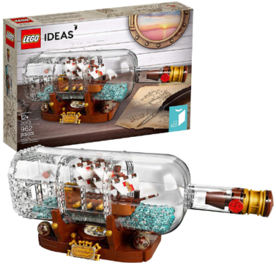 This is an image of boy's LEGO ideas ship in a bottle building kit