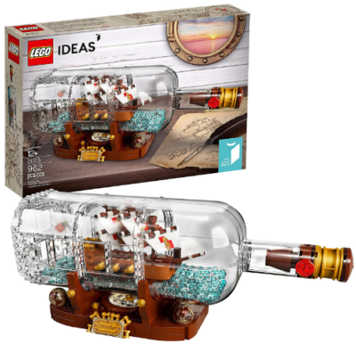 This is an image of girl's LEGO ideas ship in a bottle building kit