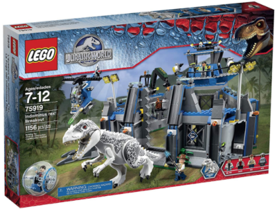 This is an image of boy's LEGO jurassic world rex building kit