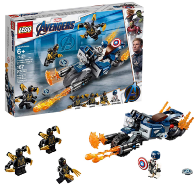 This is an image of kid's LEGO marvel avengers captain america with he's bike in colorful colors