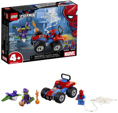 This is an image of kid's LEGO marvel spider man car chase in colorful colors