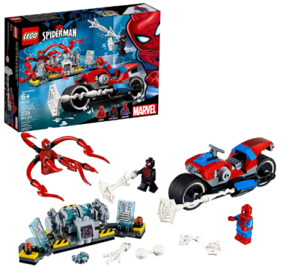 This is an image of kid's LEGO marvel spider man with bikes building kit in colorful colors