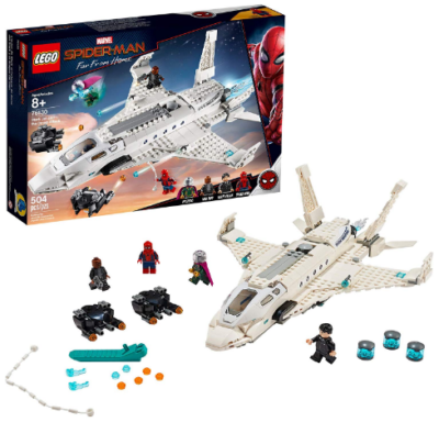 This is an image of kid's LEGO marvel spider man stark jet building kit