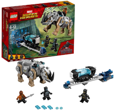 This is an image of kid's LEGO marvel super heroes rhino face off building kit