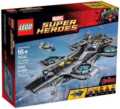 This is an image of kid's LEGO marvel super heroes shield helicarrier building set