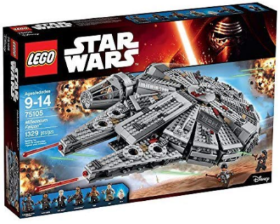 This is an image of boy's LEGO star wars millinnuum falcon building kit