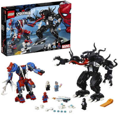 This is an image of kid's LEGO super heroes marvel spider man vs venom building set