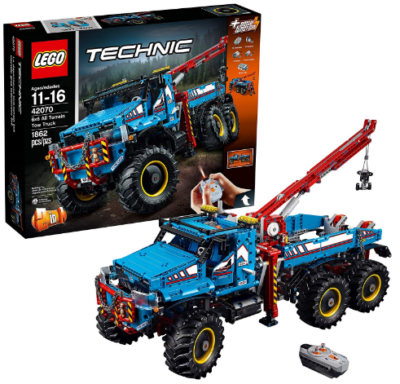 This is an image of LEGO technic 6x6 all terrain truck building kit in blue color
