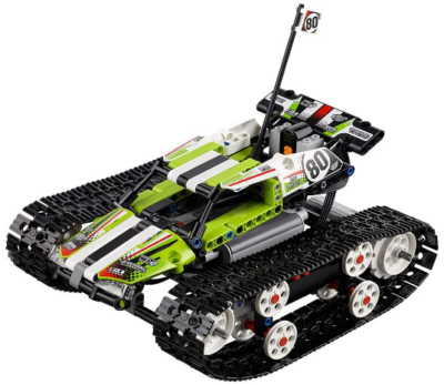 This is an image of LEGO technic Remote control tracked racer in green and black colors
