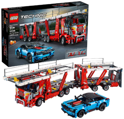 This is an image of LEGO technic car transporter building kit