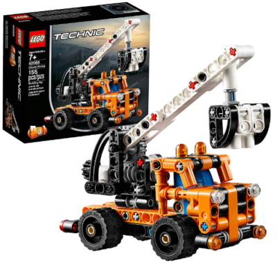 This is an image of LEGO technic cherry picker truck building kit in orange color