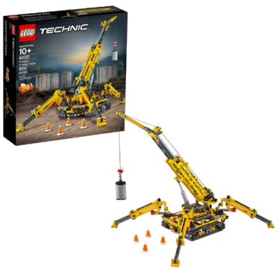 This is an image of LEGO technic compact crawler crane building kit in yellow color