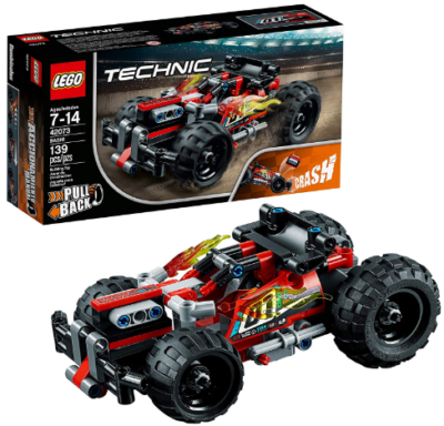 This is an image of kid's LEGO technic car building kit in black and red colors