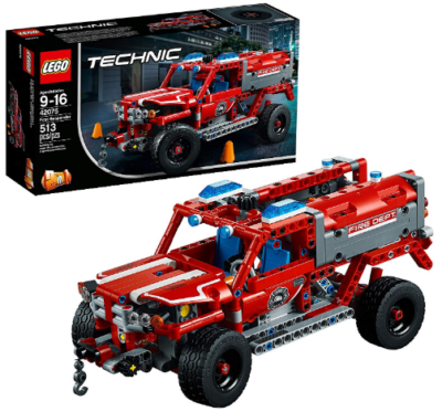 This is an image of LEGO technic car truck building kit in red color