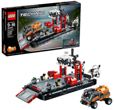 This is an image of LEGO technic hovercraft with truck building kit in colorful colors