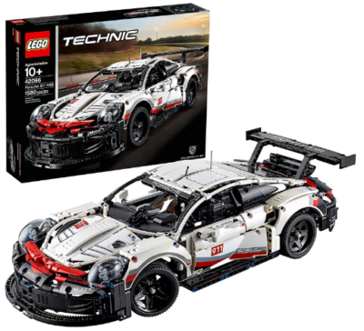 This is an image of LEGO technic porsche race car building kit in colorful colors