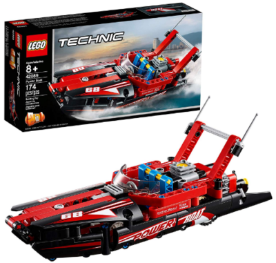 This is an image of LEGO technic power boat building kit in red color