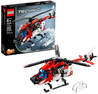This is an image of LEGO technic rescue helicopter in red and white colors