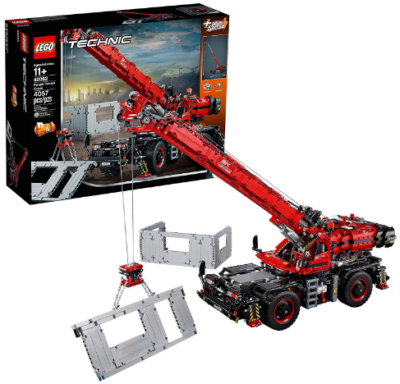 This is an image of LEGO technic rough terrain crane in red and black colors