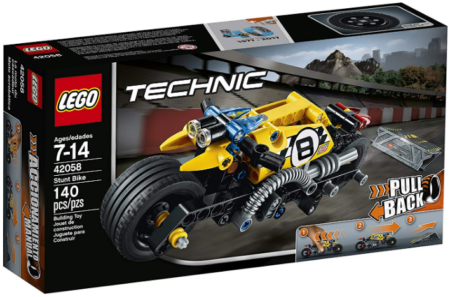 This is an image of LEGO technic stunt bike building kit in yellow color