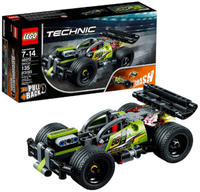 This is an image of boy's LEGO technic car building kit in black and green color