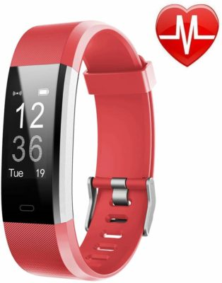 This is an image of a red smart fitness tracker by LETSCOM.