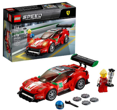 This is an image of boy's LEGO speed champions ferrari building kit in red color