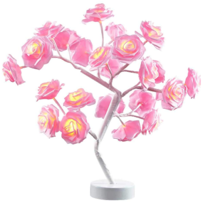 This is an image of girl's lamp with flower rose design in pink and white colors