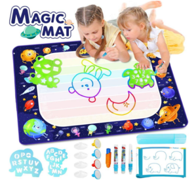 This is an image of girl's large water doodle mat with colorful pencils