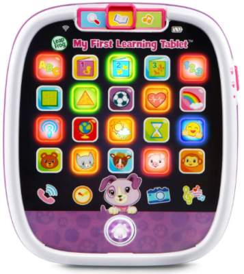 This is an image of kid's educational learning tablet in white and purple colors