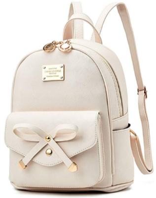 This is an image of girl's leather mini pack in light pink color