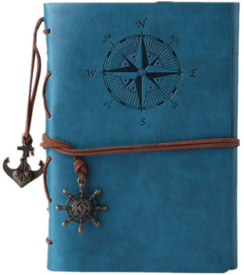 This is an image of girl's writing journal notebook in blue color