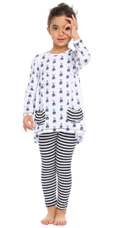 This is an image of girl's leggings pajamas set in white and black colors
