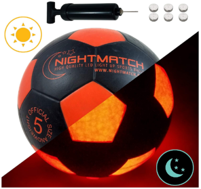 This is an image of boy's light up soccer ball in orange and black colors