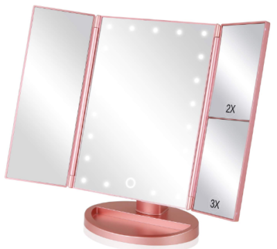 This is an image of girl's lighted makeup mirror in pink color