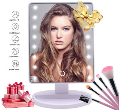 This is an image of girl's lighted makeup mirror with 16 led