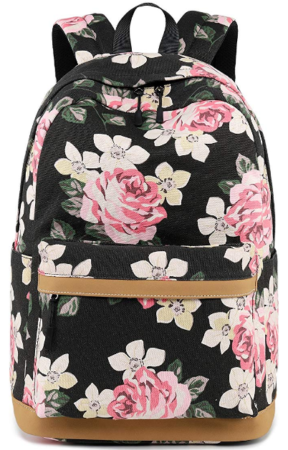 This is an image of girl's bookbag with flowers in black and brown colors