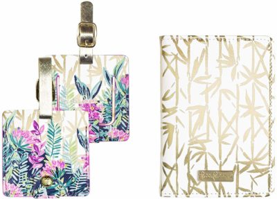 This is an image of a leatherette luggage tags and passport cover by Lilly Pulitzer,