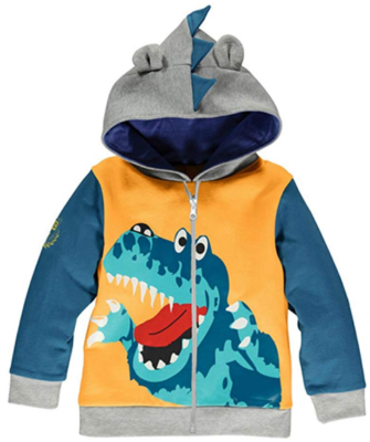 This is an image of boy's hoddie with dinosaur design in blue and and gray color